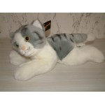 PELUCHE CHAT COUCHE GRIS