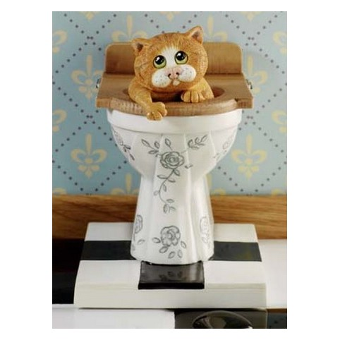 FIGURINE CHAT AUX TOILETTES COMIC CURIOUS CATS