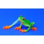 FIGURINE GRENOUILLE VERTE YEUX ROUGES