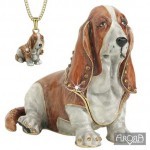 COFFRET BASSET HOUND ET SON PENDENTIF