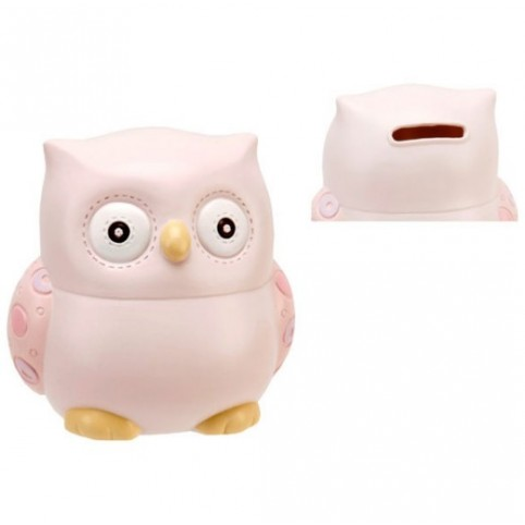 TIRELIRE BEBE HIBOU ROSE