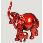 STATUETTE ELEPHANT ROUGE ET SON BEBE