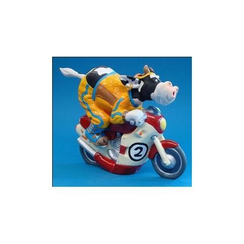 FIGURINE VACHE MOTOCYCLISTE