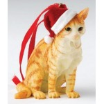 DECORATION A SUSPENDRE CHAT ROUX BLANC