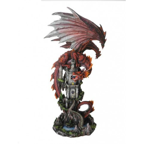 STATUETTE DRAGON ROUGE SUR ROCHER