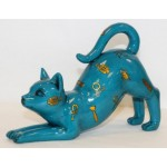 FIGURINE CHAT STRETCHING TURQUOISE