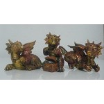LOT DE 3 FIGURINES DRAGONS COULEUR OR