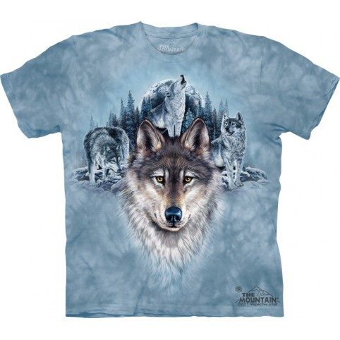 TEE SHIRT LOUPS LUNE BLEUE