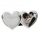 CADRE PHOTO MARIAGE DOUBLE COEUR ARGENT