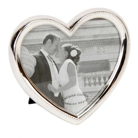 CADRE PHOTO MARIAGE COEUR ARGENT