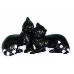 STATUETTE COUPLE CHATS NOIR ET BLANC