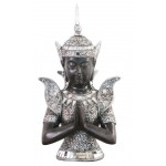 STATUETTE BUSTE DE BOUDDHA ARGENTE 