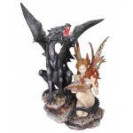 STATUETTE FEE TANA ET SON DRAGON NOIR