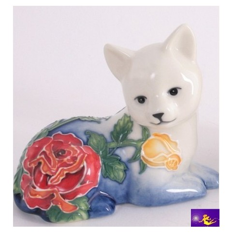 FIGURINE CHAT COUCHE DECOR FLEUR