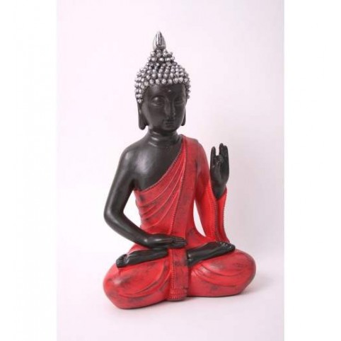 FIGURINE BOUDDHA ASSIS ROUGE