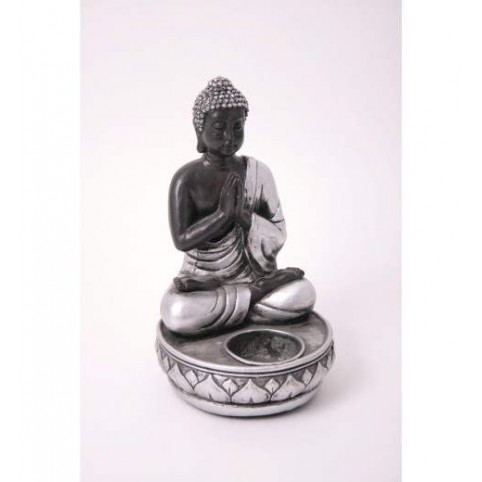 FIGURINE BOUDDHA ASSIS ARGENT PORTE-BOUGIE
