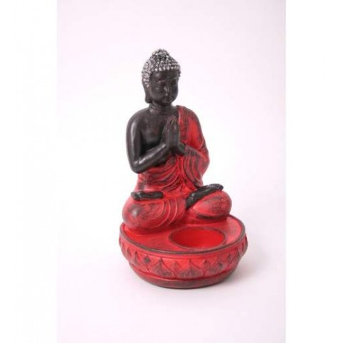 FIGURINE BOUDDHA ASSIS ROUGE PORTE-BOUGIE