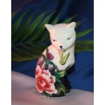 FIGURINE CHAT ASSIS FLEURS