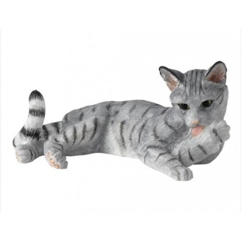 FIGURINE CHAT GRIS COUCHE