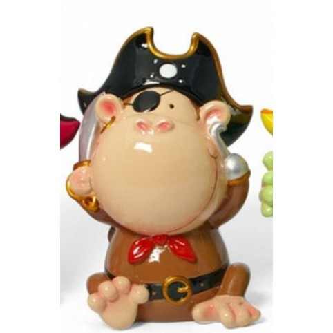 TIRELIRE SINGE PIRATE MARRON