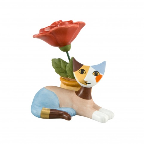 FIGURINE CHAT DELIA CON ROSE