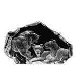 FIGURINE CRISTAL LION AVEC 2 LIONNES MATS JONASSON