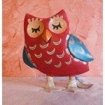 FIGURINE CHOUETTE ROUGE METAL