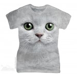 TEE SHIRT FEMME CHAT AUX YEUX VERTS