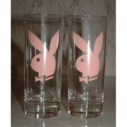 VERRE ROSE MM CLAIR SET DE 2 PLAY BOY
