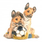 FIGURINE BERGERS ALLEMAND CHIOTS