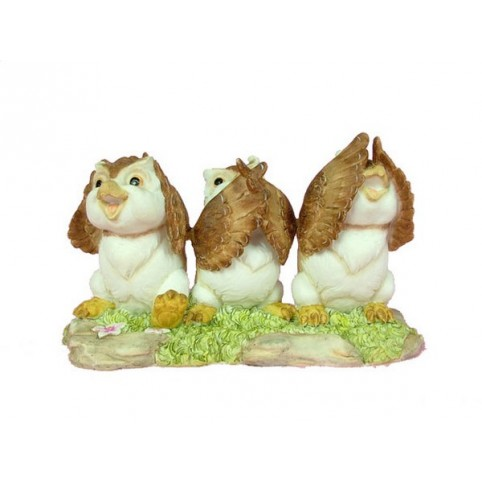 SET DE 3 FIGURINES HIBOUX SAGESSE