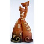 STATUETTE CHATS DECORES EN COUPLE