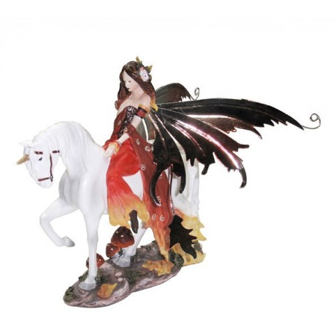 FIGURINE FEE ORANGE SUR LICORNE