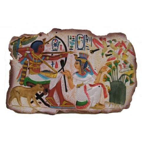 RELIEF MURAL EGYPTIEN SCENE DE CHASSE