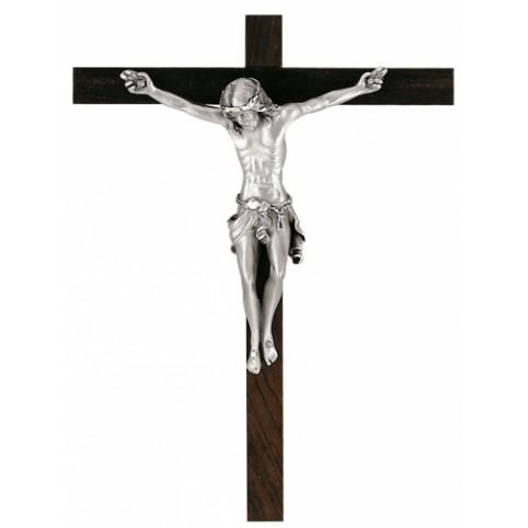 FIGURINE CHRIST SUR PALLISANDRE EN ETAIN