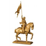 FIGURINE JEANNE D'ARC A CHEVAL DOREE