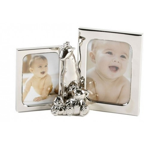 CADRE PHOTO DOUBLE GIRAFE ARGENT