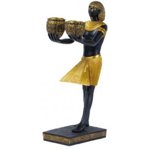 BOUGEOIR EGYPTIEN NOIR ET DORE