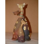 STATUETTE CHATS LOT DE 3
