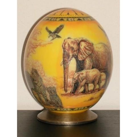 OEUF AUTRUCHE ELEPHANTS ET LEOPARDS