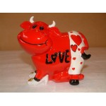 TIRELIRE VACHE LOVE ROUGE