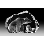 FIGURINE CRISTAL OURS POLAIRE ET SON PETIT