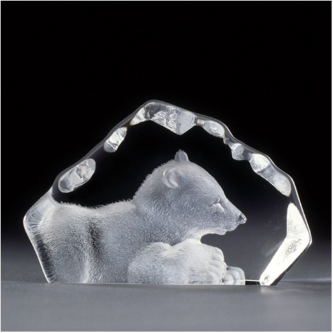 FIGURINE CRISTAL BEBE OURS POLAIRE MATS JONASSON