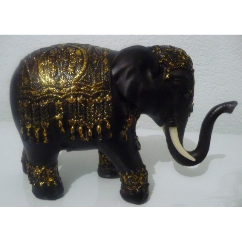FIGURINE ELEPHANT NOIR ET OR
