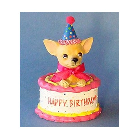 FIGURINE CHIHUAHUA HAPPY BIRTHDAY