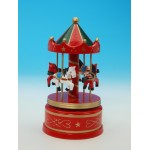 MANEGE MUSICAL EN BOIS ROUGE