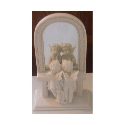 Statuette anges se regardent dans miroir for Miroir egyptien